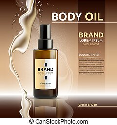 Body oil cosmetic ads template. Hydrating body lotions. Mockup 3D Realistic illustration. Liquid drops over brown background