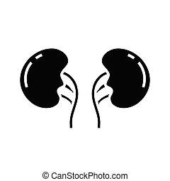 Body organ black icon, concept illustration, vector flat symbol, glyph sign.