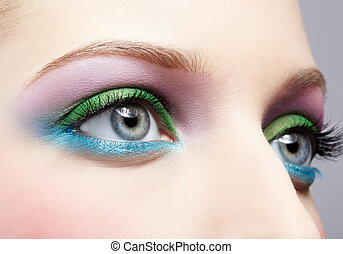 eye shadow make up - body part portrait of beautiful young ...