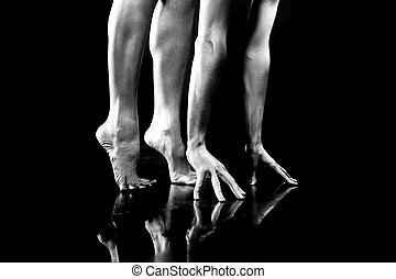 Body parts. Hand and Legs. On black background.