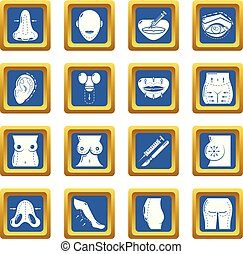 Body parts icons set blue square vector - Body parts icons...