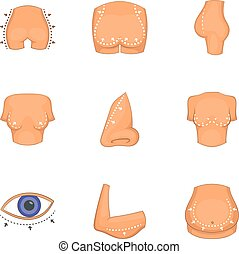 Body parts icons set, cartoon style - Body parts icons set....