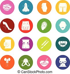 Body parts icons set colorful circles vector - Body parts...