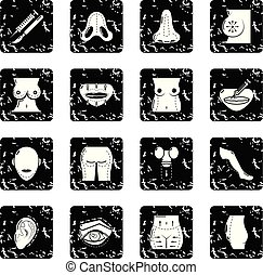 Body parts icons set grunge vector - Body parts icons set...