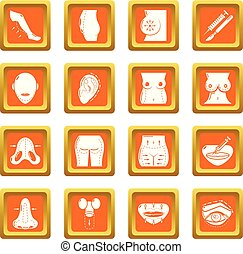Body parts icons set orange square vector - Body parts icons...