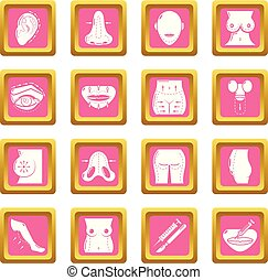 Body parts icons set pink square vector - Body parts icons...