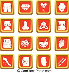 Body parts icons set red square vector - Body parts icons...
