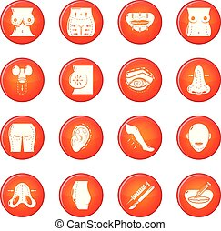 Body parts icons set red vector - Body parts icons set...