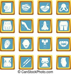 Body parts icons set sapphirine square vector - Body parts...