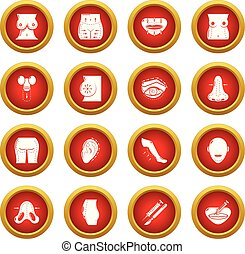 Body parts icons set, simple style - Body parts icons set....