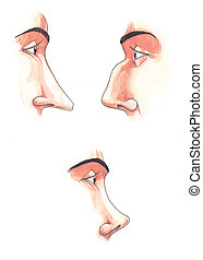 Body parts: noses - Watercolor illustration: set of ...