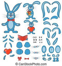 body parts of the rabbit in vector