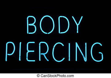 Body Piercing Neon Sign - Body Piercing Neon Blue Sign