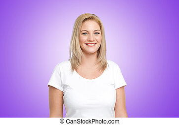 happy woman in white t-shirt over ultra violet