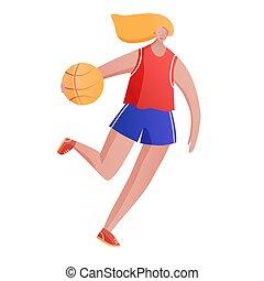 Body positive girl playing basketball illustration for school or studio ad