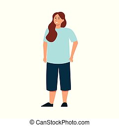 Body positive plus size woman flat vector icon isolated on white background.