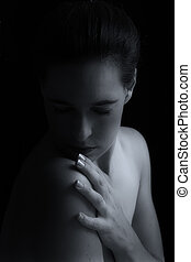 Body scape of woman neck and hand emotion artistic...