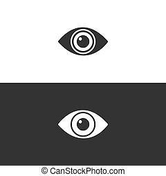 Body senses vision. Eye icon on black and white background