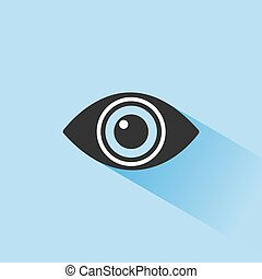 Body senses vision. Eye icon with shade on blue background