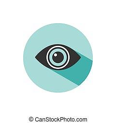 Body senses vision. Eye icon with shade on green circle