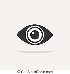Body senses vision. Eye icon with shadow on beige background