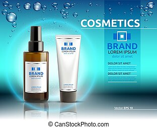 Body serum and cream cosmetic ads template. Hydrating facial or body lotions. Mockup 3D Realistic illustration. Sparkling water drops over blue background