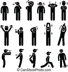 A set of human pictogram representing a collection of body stretching posture and exercise.