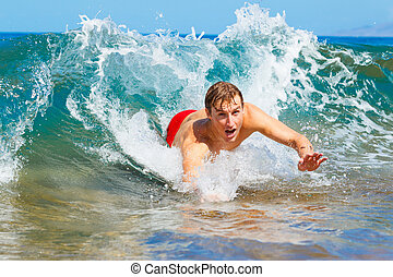 Body Surfing at the Beach