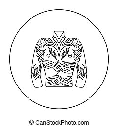 Body tattoo icon outline. Single tattoo icon from the big studio outline.