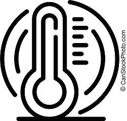 Body temperature test icon, outline style - Body temperature...