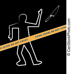 body with crime scene and knife as the weapon