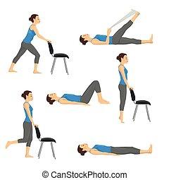 Body workout exercise fitness training set. Knee exercises
