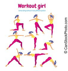 Body workout set. Woman doing fitness and yoga exercises. Pack o