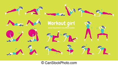 Body workout set. Woman doing fitness and yoga exercises