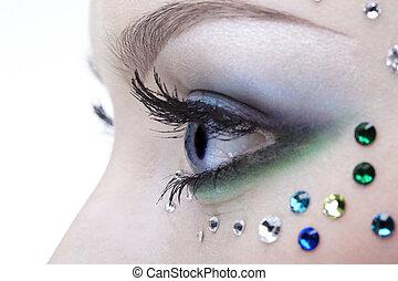 bodyart of eye zone - portrait of beautiful girl\'s eye zone...