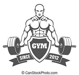 bodybuilder, 体育馆, 象征, 训练