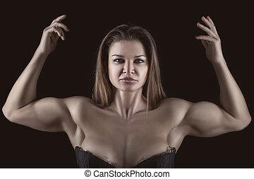 bodybuilder, 女孩, 带, 手提高, 。
