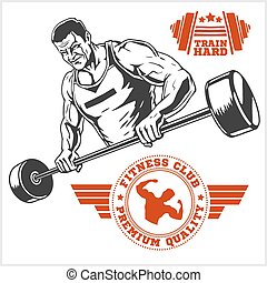 Bodybuilder and Bodybuilding Fitness logos emblems. Sports icons.  Isolated on white.