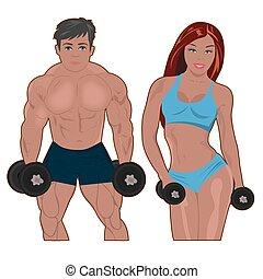 bodybuilder and fitness girl, vector illustration