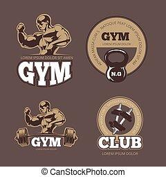 Bodybuilder and gym vector vintage emblems, labels, badges, logos