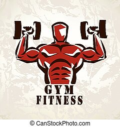 bodybuilder, athlete exercising symbol