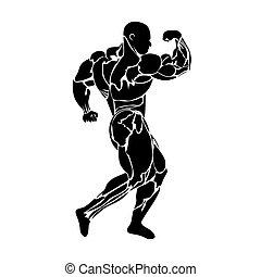 Bodybuilder - Bodybuilding, power lifting, icon, black...