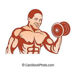 Bodybuilder - Cheerful bodybuilder at the training with...