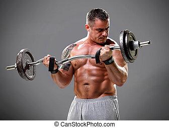 bodybuilder, closeup, gewichte, heben