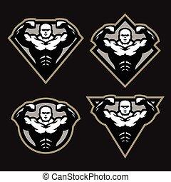 bodybuilder, desporto, condicão física, logotipo, um, jogo, de, diferente, shapes.