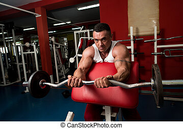 bodybuilder, doen, zware, barbell, oefening