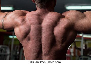 Bodybuilder Doing Exercise For Back