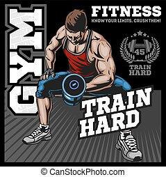 Bodybuilder doing exercise with dumbbells for biceps on black background