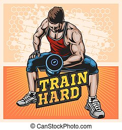 Bodybuilder doing exercise with dumbbells for biceps, vector illustration on light background