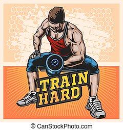Bodybuilder doing exercise with dumbbells for biceps, vector illustration on light background